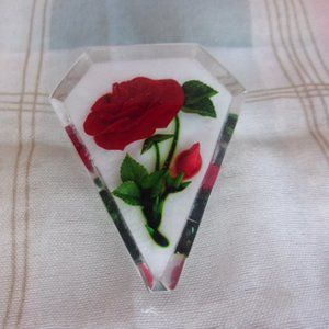 Red Rose Clear Lucite Plastic Brooch Pin